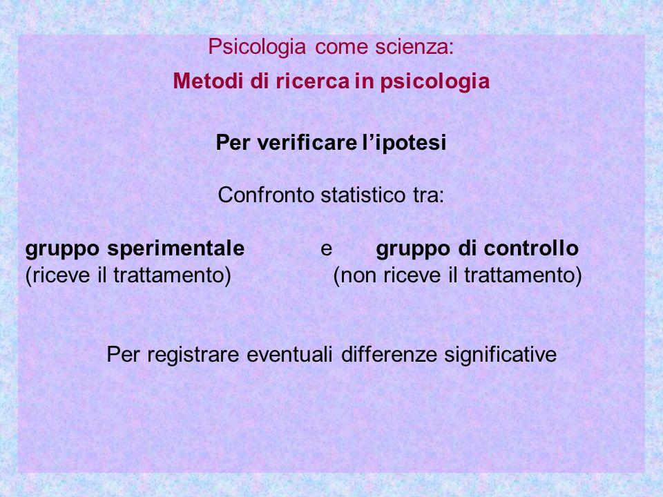 Psicologia come scienza: Metodi di ricerca in psicologia Per verificare l'ipotesi Confronto statistico tra: gruppo sperimentale e gruppo di controllo