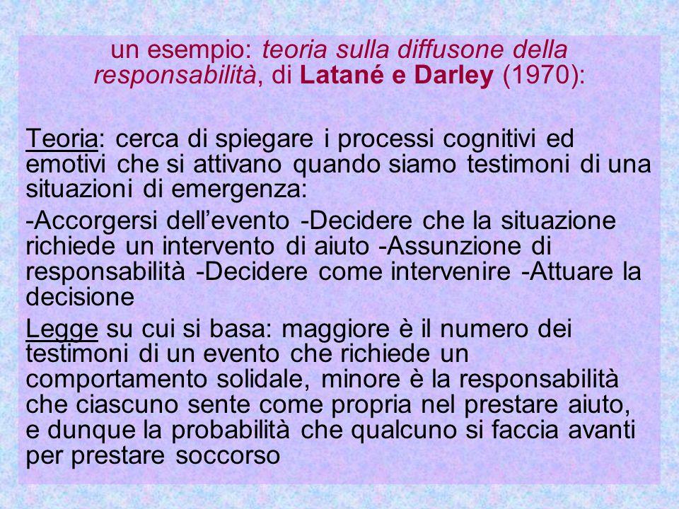 un esempio: teoria sulla diffusone della responsabilità, di Latané e Darley (1970): Teoria: cerca di spiegare i processi cognitivi ed emotivi che si a