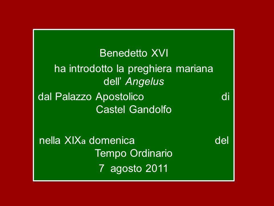 Benedetto XVI ha introdotto la preghiera mariana dell' Angelus dal Palazzo Apostolico di Castel Gandolfo nella XIX a domenica del Tempo Ordinario 7 agosto 2011 Benedetto XVI ha introdotto la preghiera mariana dell' Angelus dal Palazzo Apostolico di Castel Gandolfo nella XIX a domenica del Tempo Ordinario 7 agosto 2011