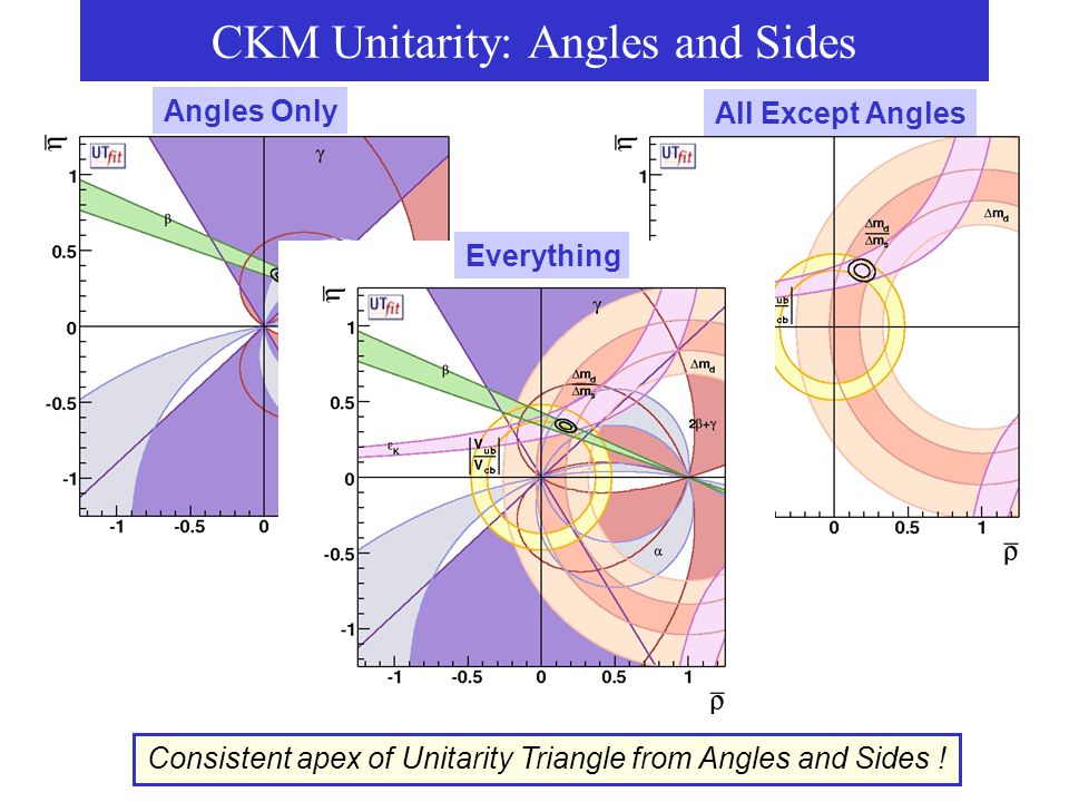 CKM Unitarity: Angles and Sides Angles Only All Except Angles Consistent apex of Unitarity Triangle from Angles and Sides ! Everything