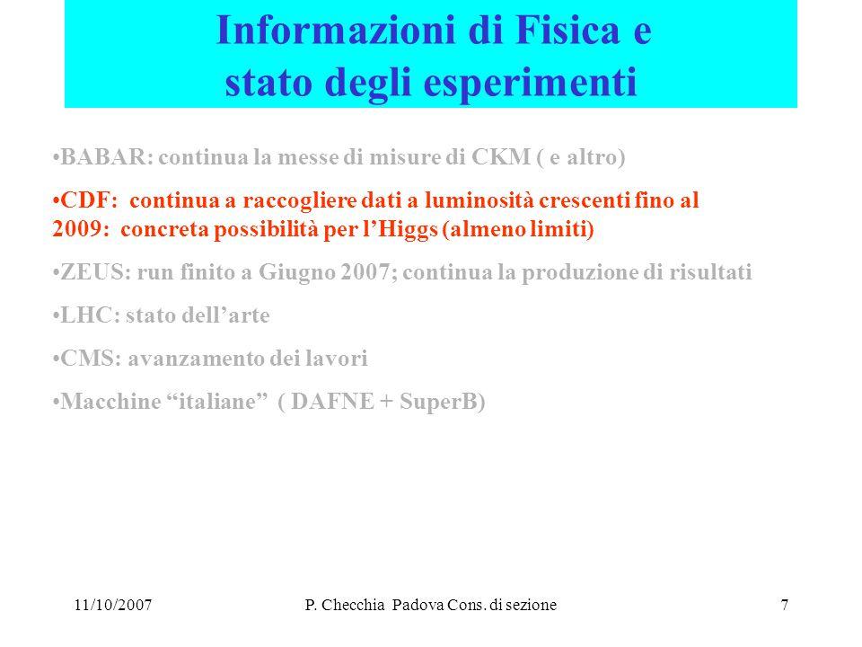 11/10/2007P. Checchia Padova Cons. di sezione8