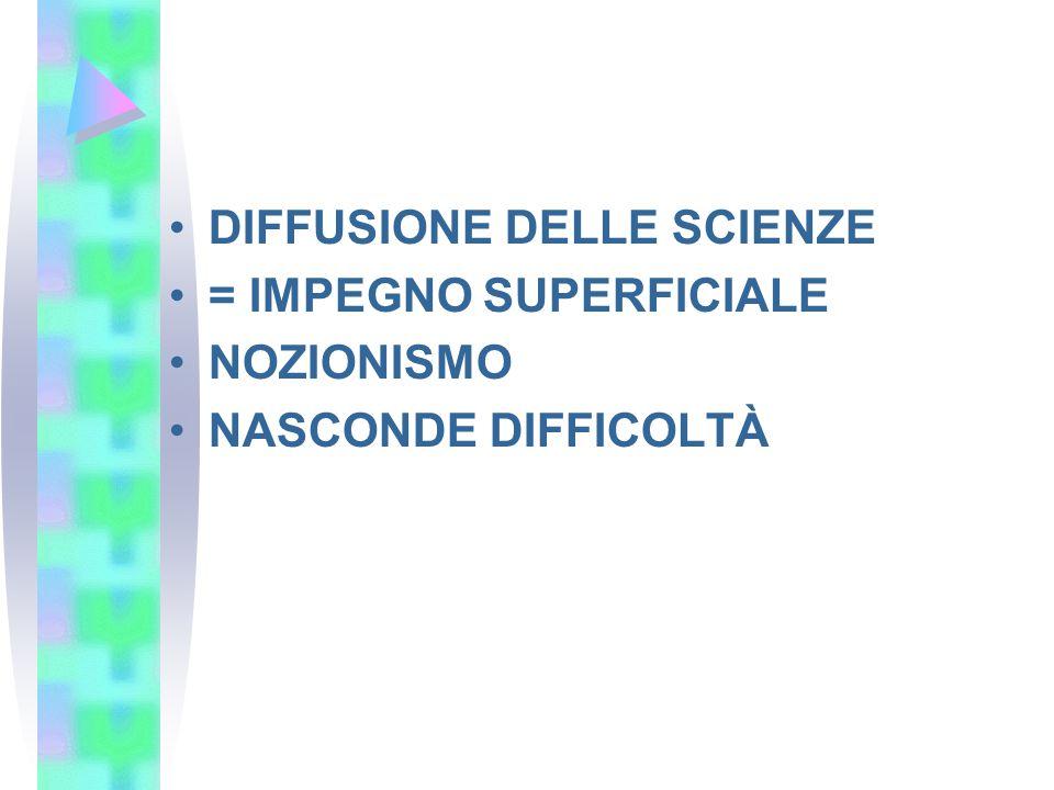 DIFFUSIONE DELLE SCIENZE = IMPEGNO SUPERFICIALE NOZIONISMO NASCONDE DIFFICOLTÀ