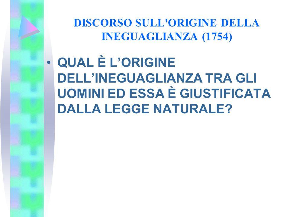 DISCORSO SULL'ORIGINE DELLA INEGUAGLIANZA (1754) QUAL È L'ORIGINE DELL'INEGUAGLIANZA TRA GLI UOMINI ED ESSA È GIUSTIFICATA DALLA LEGGE NATURALE?