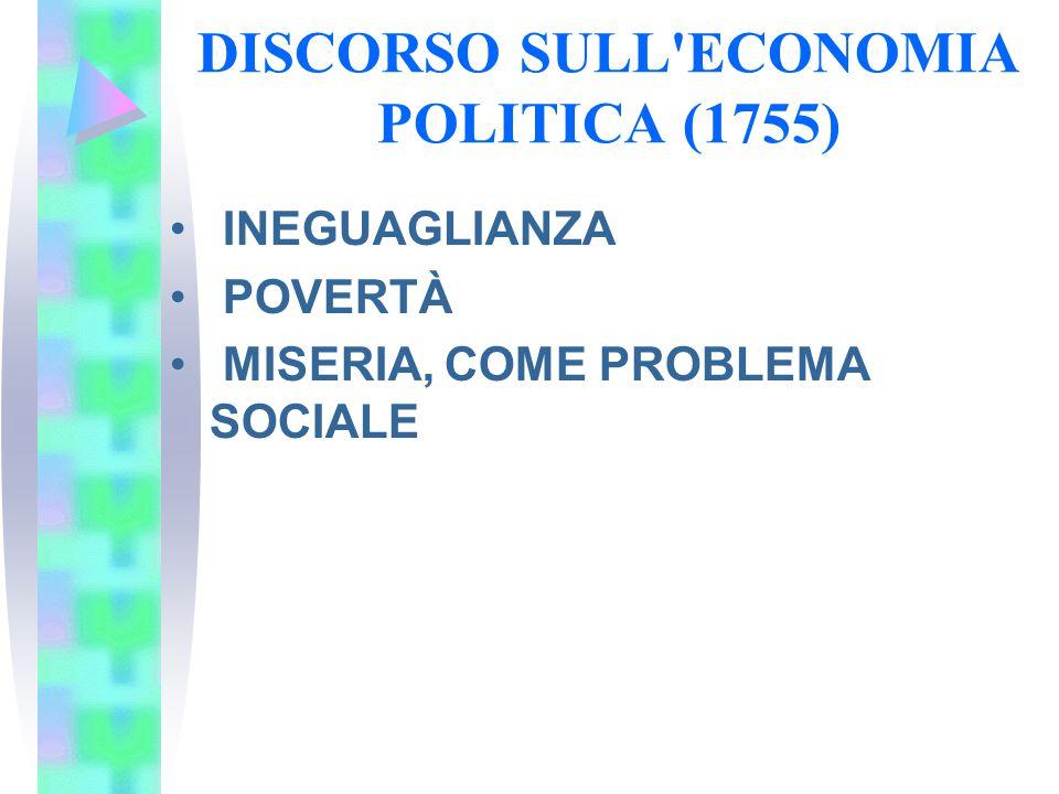 DISCORSO SULL'ECONOMIA POLITICA (1755) INEGUAGLIANZA POVERTÀ MISERIA, COME PROBLEMA SOCIALE