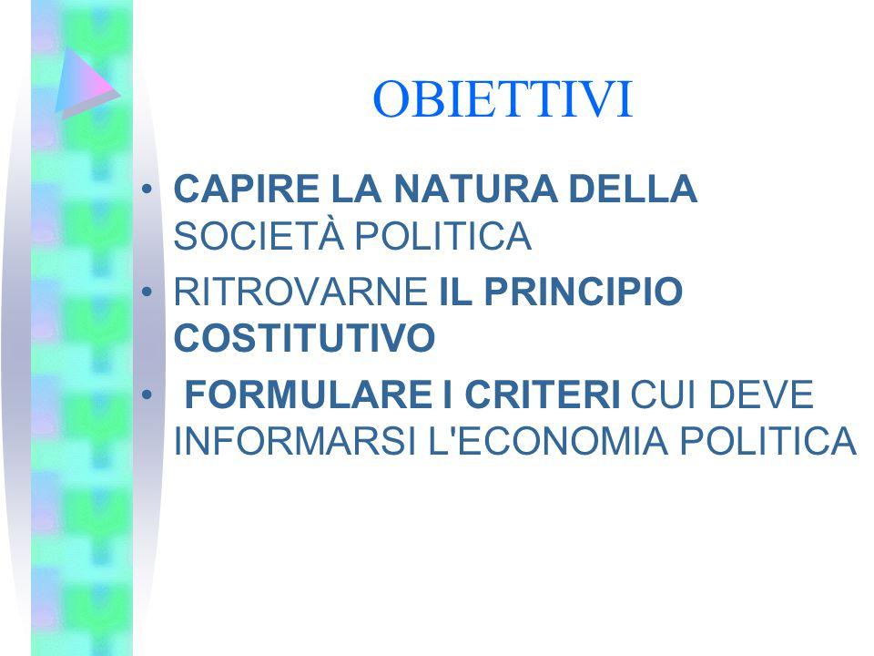 OBIETTIVI CAPIRE LA NATURA DELLA SOCIETÀ POLITICA RITROVARNE IL PRINCIPIO COSTITUTIVO FORMULARE I CRITERI CUI DEVE INFORMARSI L'ECONOMIA POLITICA