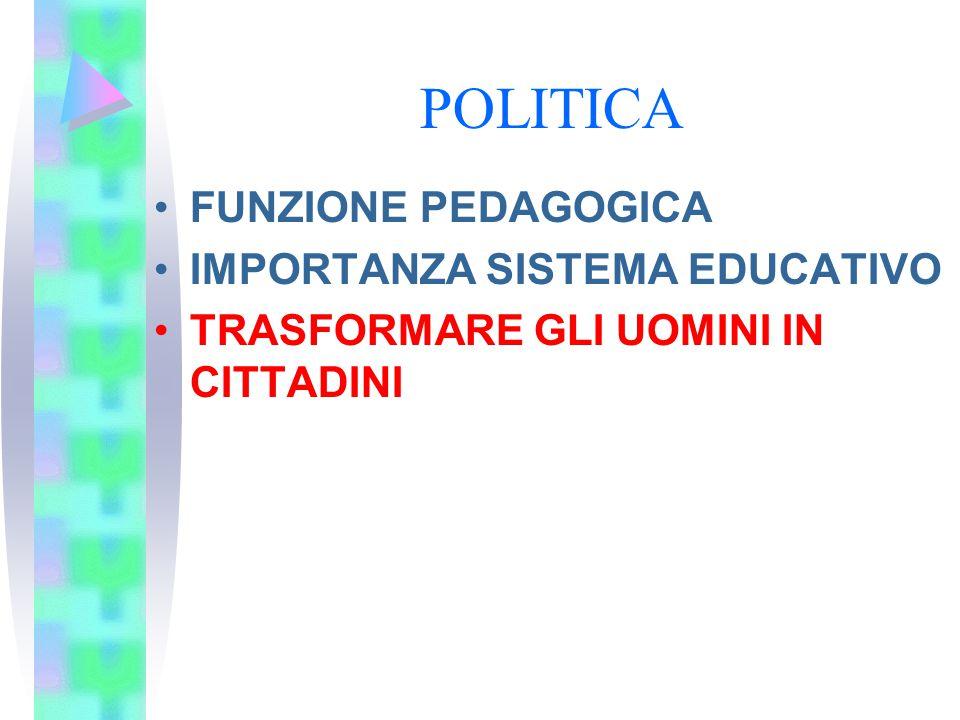 POLITICA FUNZIONE PEDAGOGICA IMPORTANZA SISTEMA EDUCATIVO TRASFORMARE GLI UOMINI IN CITTADINI