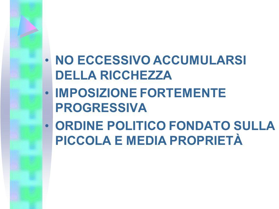 NO ECCESSIVO ACCUMULARSI DELLA RICCHEZZA IMPOSIZIONE FORTEMENTE PROGRESSIVA ORDINE POLITICO FONDATO SULLA PICCOLA E MEDIA PROPRIETÀ