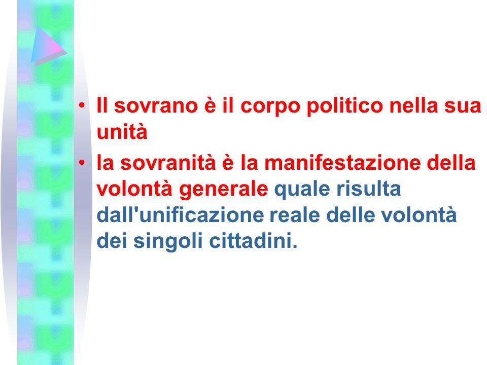 Il sovrano è il corpo politico nella sua unità la sovranità è la manifestazione della volontà generale quale risulta dall'unificazione reale delle vol