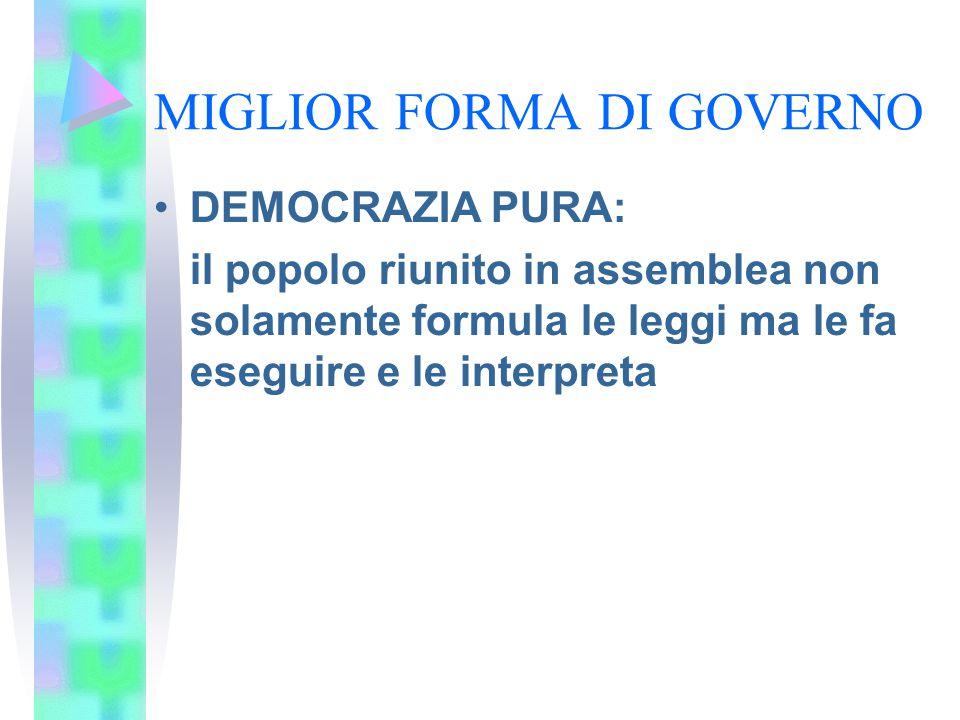 MIGLIOR FORMA DI GOVERNO DEMOCRAZIA PURA: il popolo riunito in assemblea non solamente formula le leggi ma le fa eseguire e le interpreta