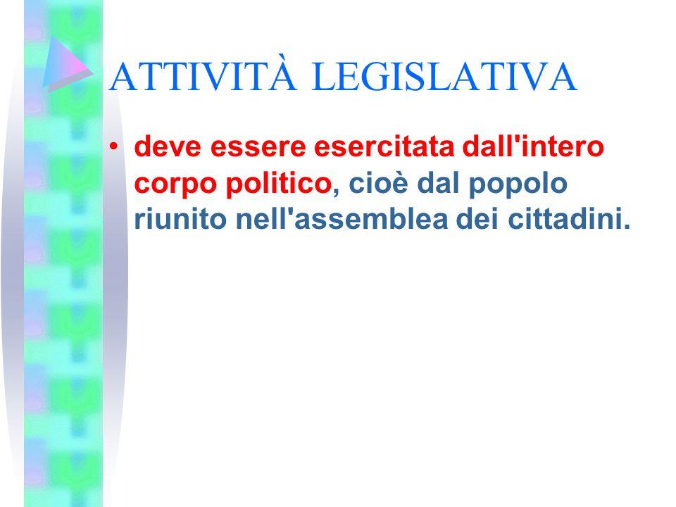 ATTIVITÀ LEGISLATIVA deve essere esercitata dall'intero corpo politico, cioè dal popolo riunito nell'assemblea dei cittadini.