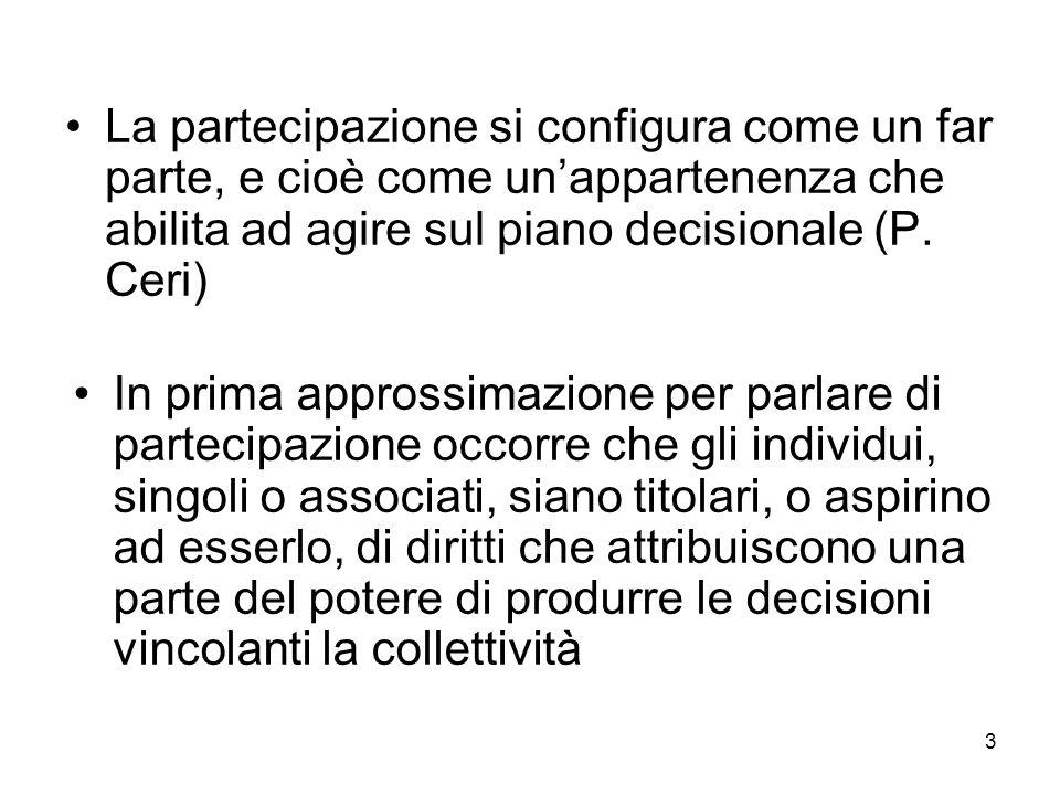 3 La partecipazione si configura come un far parte, e cioè come un'appartenenza che abilita ad agire sul piano decisionale (P.