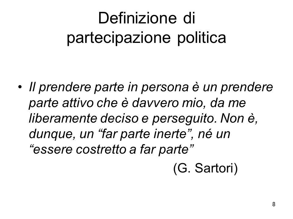 8 Definizione di partecipazione politica Il prendere parte in persona è un prendere parte attivo che è davvero mio, da me liberamente deciso e perseguito.