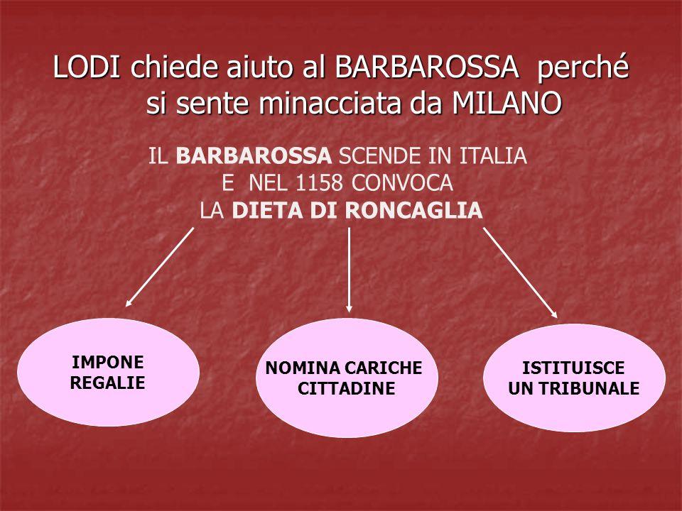 LODI chiede aiuto al BARBAROSSA perché si sente minacciata da MILANO IL BARBAROSSA SCENDE IN ITALIA E NEL 1158 CONVOCA LA DIETA DI RONCAGLIA IMPONE REGALIE ISTITUISCE UN TRIBUNALE NOMINA CARICHE CITTADINE