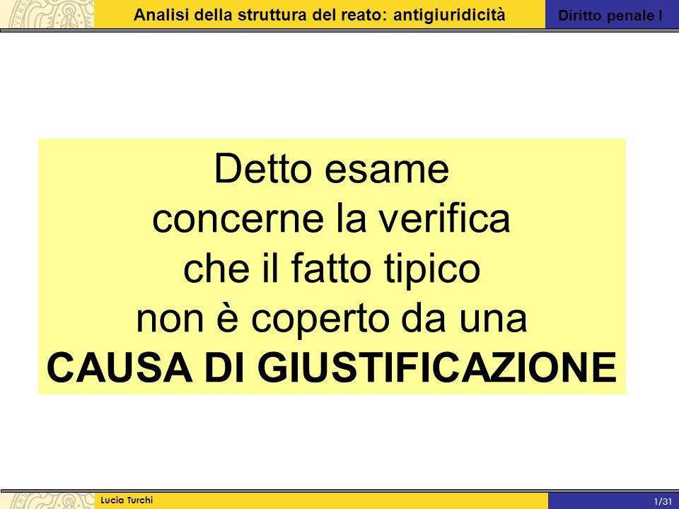 Diritto penale I Analisi della struttura del reato: antigiuridicità Lucia Turchi 1/31 Detto esame concerne la verifica che il fatto tipico non è coper