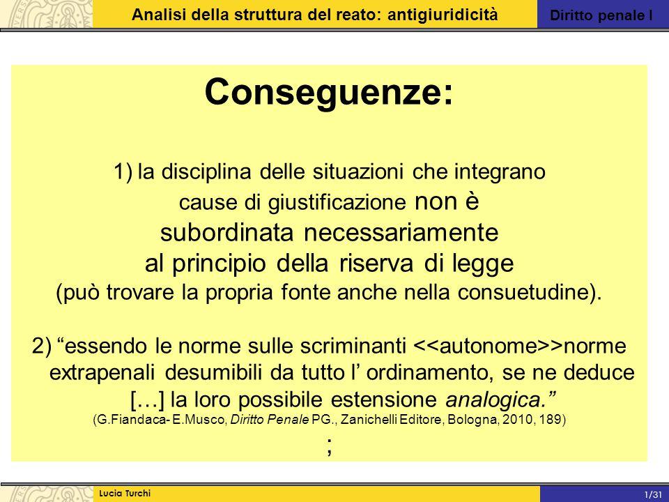 Diritto penale I Analisi della struttura del reato: antigiuridicità Lucia Turchi 1/31 Conseguenze: 1)la disciplina delle situazioni che integrano caus