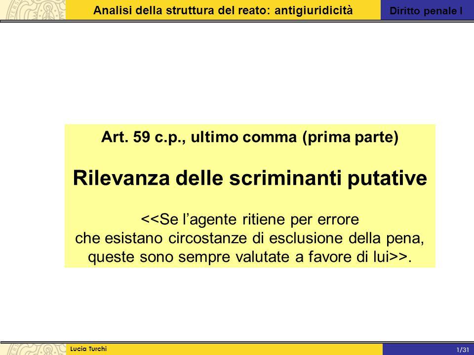 Diritto penale I Analisi della struttura del reato: antigiuridicità Lucia Turchi 1/31 Art. 59 c.p., ultimo comma (prima parte) Rilevanza delle scrimin