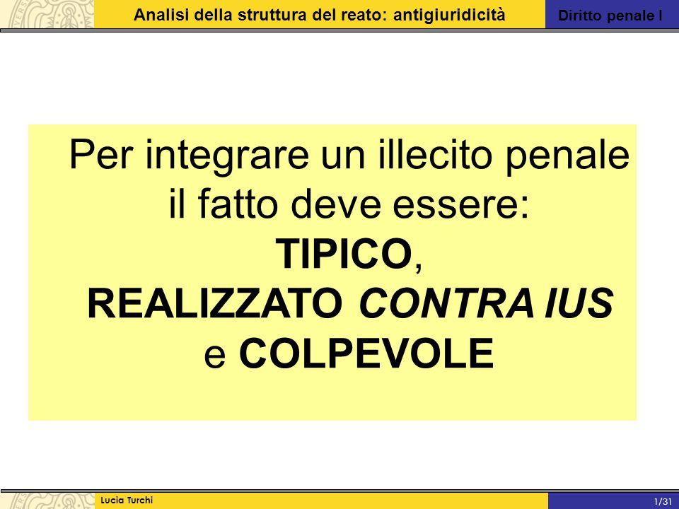 Diritto penale I Analisi della struttura del reato: antigiuridicità Lucia Turchi 1/31 Per integrare un illecito penale il fatto deve essere: TIPICO, R