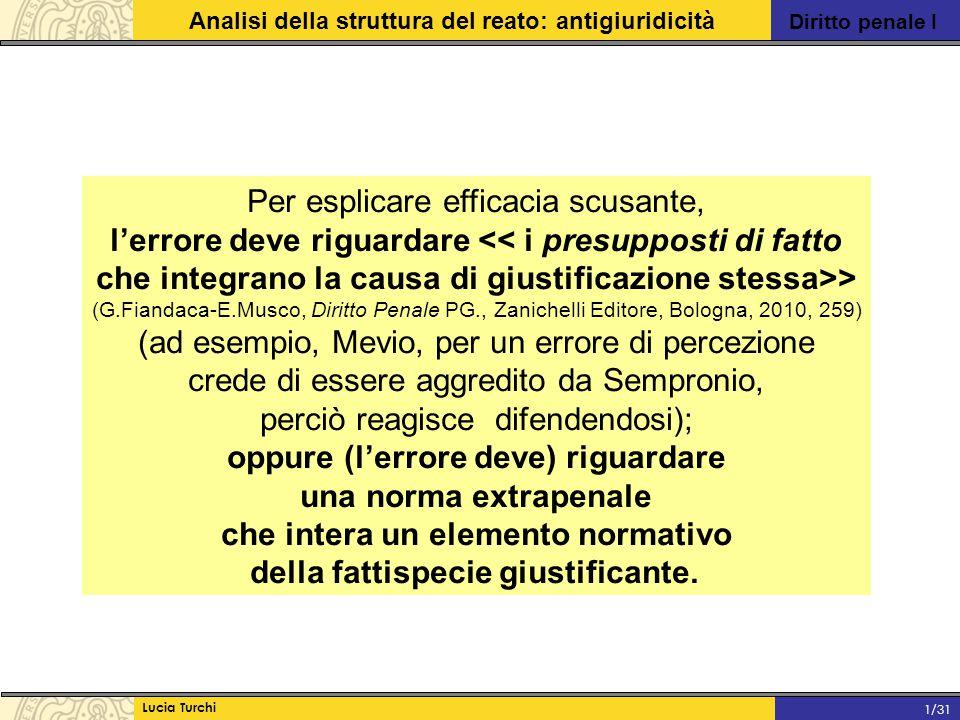 Diritto penale I Analisi della struttura del reato: antigiuridicità Lucia Turchi 1/31 Per esplicare efficacia scusante, l'errore deve riguardare << i