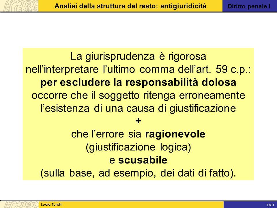 Diritto penale I Analisi della struttura del reato: antigiuridicità Lucia Turchi 1/31 La giurisprudenza è rigorosa nell'interpretare l'ultimo comma de