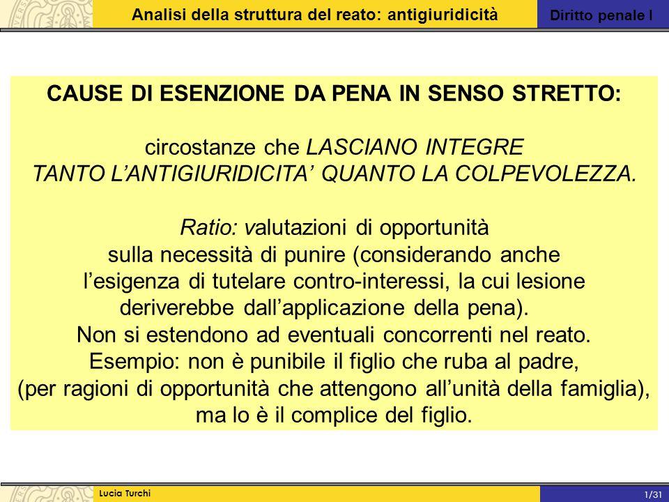 Diritto penale I Analisi della struttura del reato: antigiuridicità Lucia Turchi 1/31 CAUSE DI ESENZIONE DA PENA IN SENSO STRETTO: circostanze che LAS