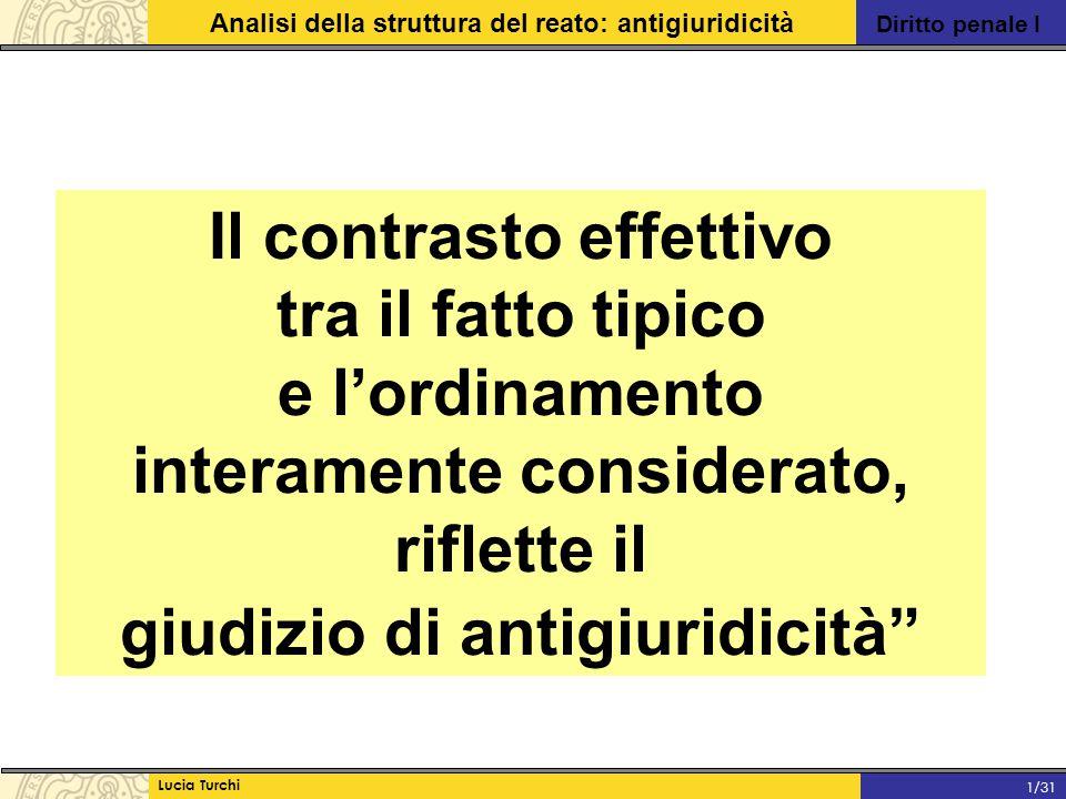 Diritto penale I Analisi della struttura del reato: antigiuridicità Lucia Turchi 1/31 Il contrasto effettivo tra il fatto tipico e l'ordinamento inter