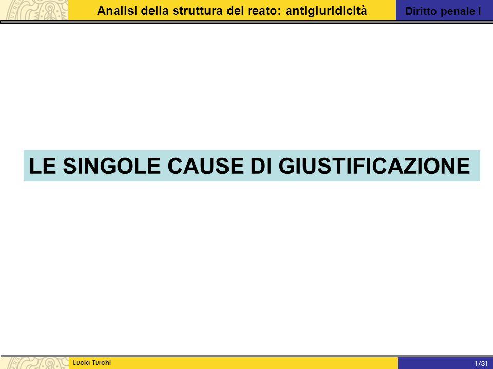 Diritto penale I Analisi della struttura del reato: antigiuridicità Lucia Turchi 1/31 LE SINGOLE CAUSE DI GIUSTIFICAZIONE