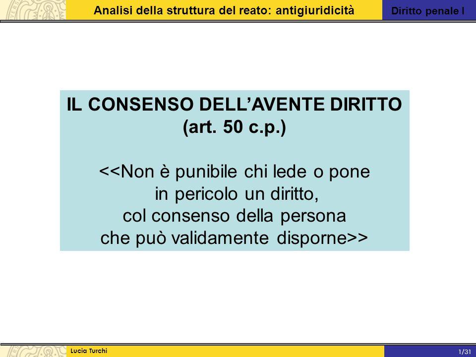 Diritto penale I Analisi della struttura del reato: antigiuridicità Lucia Turchi 1/31 IL CONSENSO DELL'AVENTE DIRITTO (art. 50 c.p.) <<Non è punibile