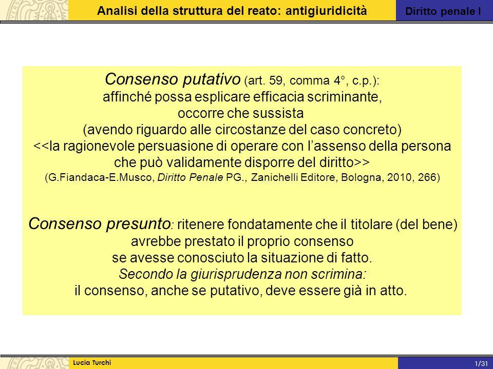 Diritto penale I Analisi della struttura del reato: antigiuridicità Lucia Turchi 1/31 Consenso putativo (art. 59, comma 4°, c.p.): affinché possa espl