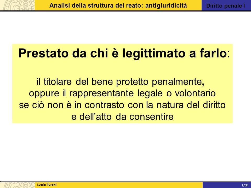 Diritto penale I Analisi della struttura del reato: antigiuridicità Lucia Turchi 1/31 Prestato da chi è legittimato a farlo: il titolare del bene prot