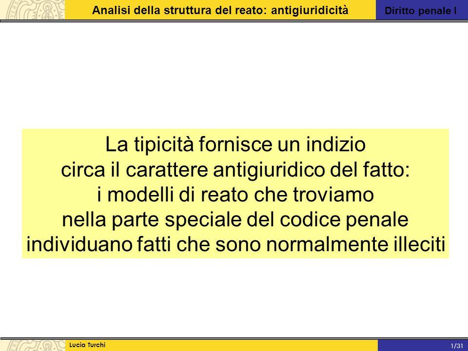 Diritto penale I Analisi della struttura del reato: antigiuridicità Lucia Turchi 1/31 La tipicità fornisce un indizio circa il carattere antigiuridico