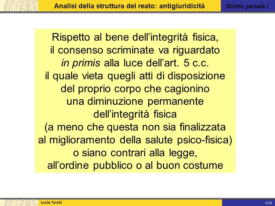 Diritto penale I Analisi della struttura del reato: antigiuridicità Lucia Turchi 1/31 Rispetto al bene dell'integrità fisica, il consenso scriminate v