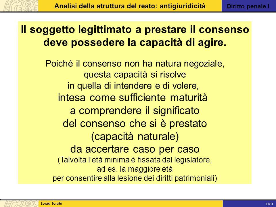 Diritto penale I Analisi della struttura del reato: antigiuridicità Lucia Turchi 1/31 Il soggetto legittimato a prestare il consenso deve possedere la