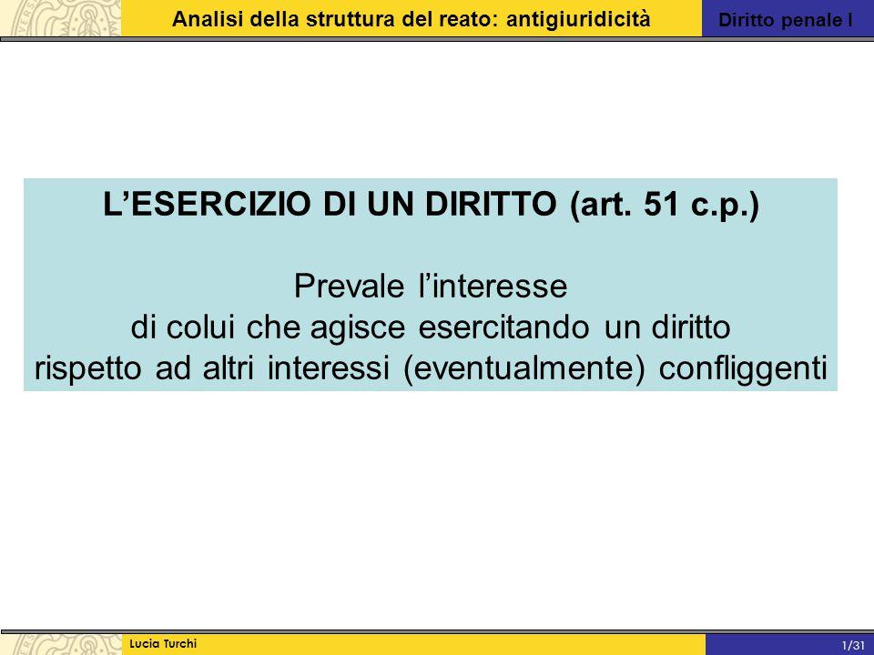 Diritto penale I Analisi della struttura del reato: antigiuridicità Lucia Turchi 1/31 L'ESERCIZIO DI UN DIRITTO (art. 51 c.p.) Prevale l'interesse di