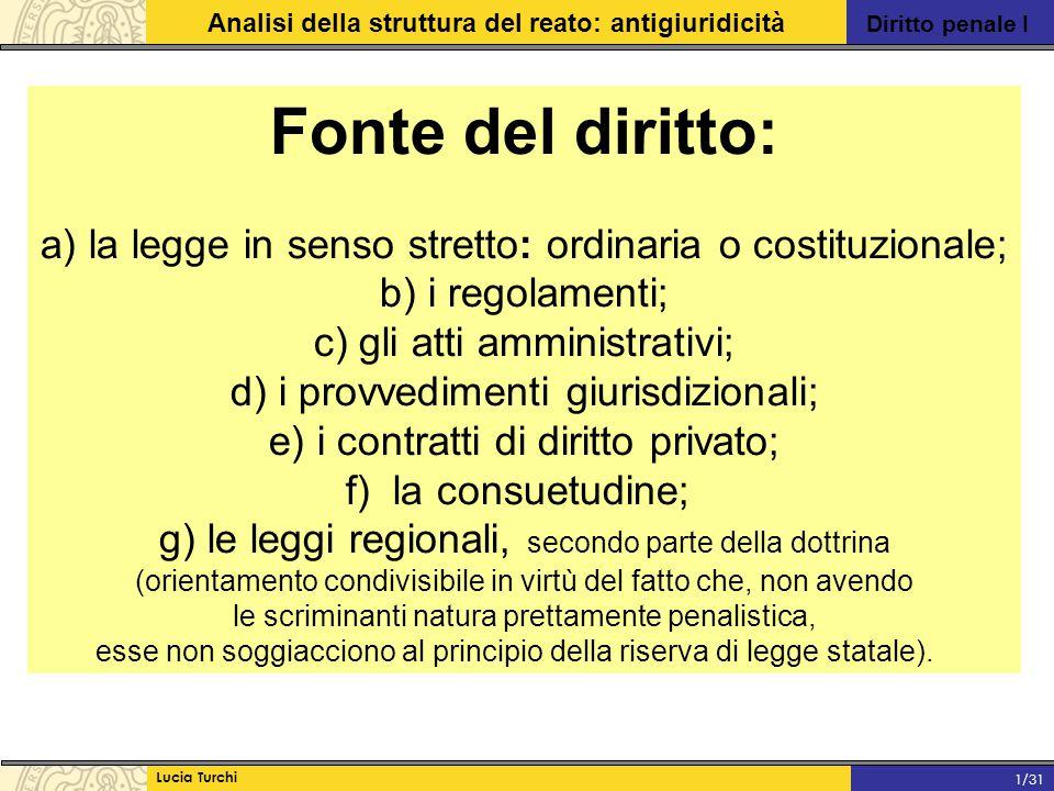 Diritto penale I Analisi della struttura del reato: antigiuridicità Lucia Turchi 1/31 Fonte del diritto: a) la legge in senso stretto: ordinaria o cos