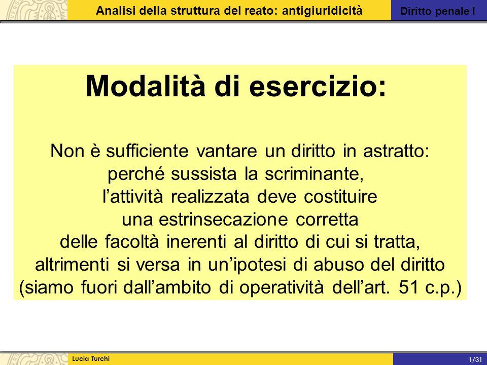 Diritto penale I Analisi della struttura del reato: antigiuridicità Lucia Turchi 1/31 Modalità di esercizio: Non è sufficiente vantare un diritto in a