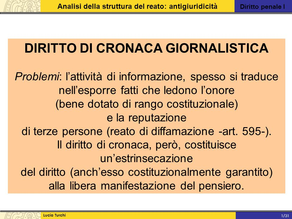 Diritto penale I Analisi della struttura del reato: antigiuridicità Lucia Turchi 1/31 DIRITTO DI CRONACA GIORNALISTICA Problemi: l'attività di informa