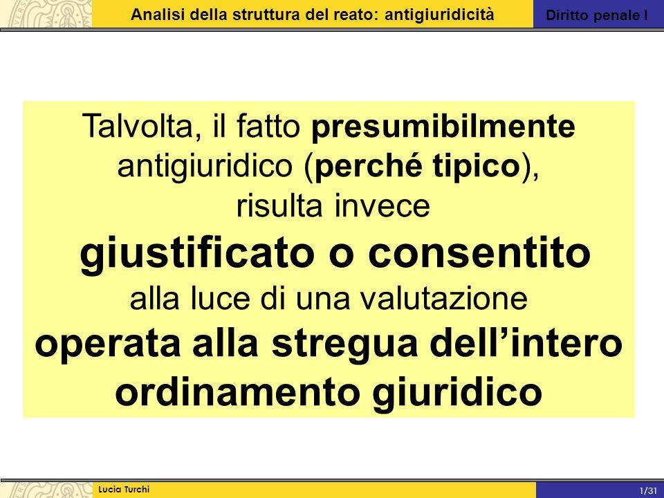 Diritto penale I Analisi della struttura del reato: antigiuridicità Lucia Turchi 1/31 Conseguenze: 1)la disciplina delle situazioni che integrano cause di giustificazione non è subordinata necessariamente al principio della riserva di legge (può trovare la propria fonte anche nella consuetudine).