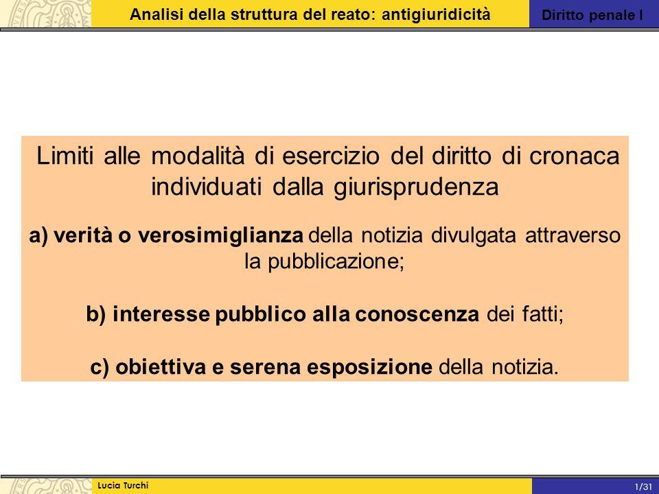Diritto penale I Analisi della struttura del reato: antigiuridicità Lucia Turchi 1/31 Limiti alle modalità di esercizio del diritto di cronaca individ