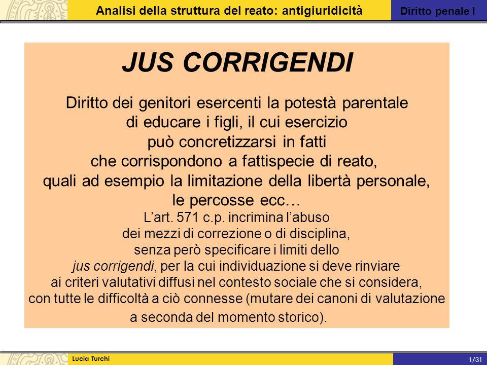 Diritto penale I Analisi della struttura del reato: antigiuridicità Lucia Turchi 1/31 JUS CORRIGENDI Diritto dei genitori esercenti la potestà parenta