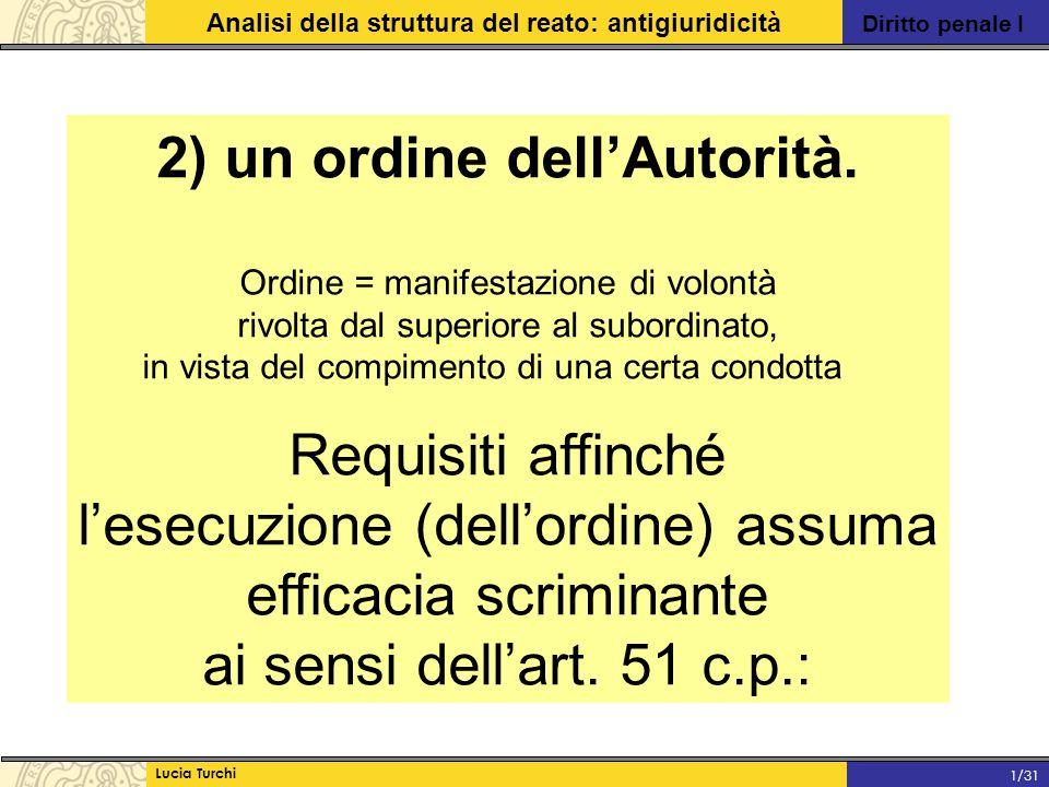 Diritto penale I Analisi della struttura del reato: antigiuridicità Lucia Turchi 1/31 2) un ordine dell'Autorità. Ordine = manifestazione di volontà r