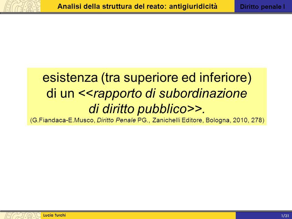 Diritto penale I Analisi della struttura del reato: antigiuridicità Lucia Turchi 1/31 esistenza (tra superiore ed inferiore) di un <<rapporto di subor