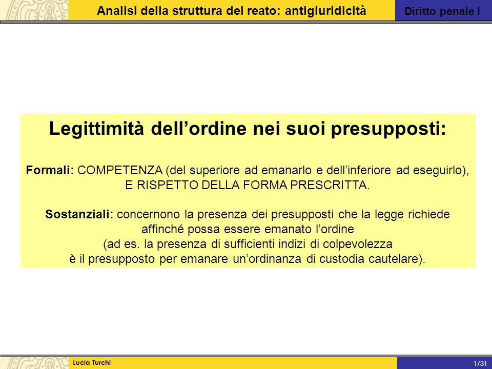 Diritto penale I Analisi della struttura del reato: antigiuridicità Lucia Turchi 1/31 Legittimità dell'ordine nei suoi presupposti: Formali: COMPETENZ