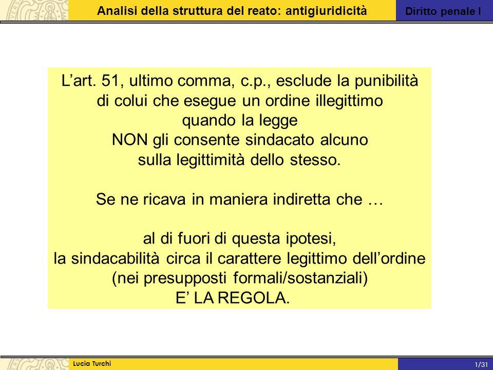 Diritto penale I Analisi della struttura del reato: antigiuridicità Lucia Turchi 1/31 L'art. 51, ultimo comma, c.p., esclude la punibilità di colui ch