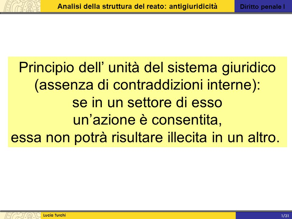 Diritto penale I Analisi della struttura del reato: antigiuridicità Lucia Turchi 1/31 Principio dell' unità del sistema giuridico (assenza di contradd