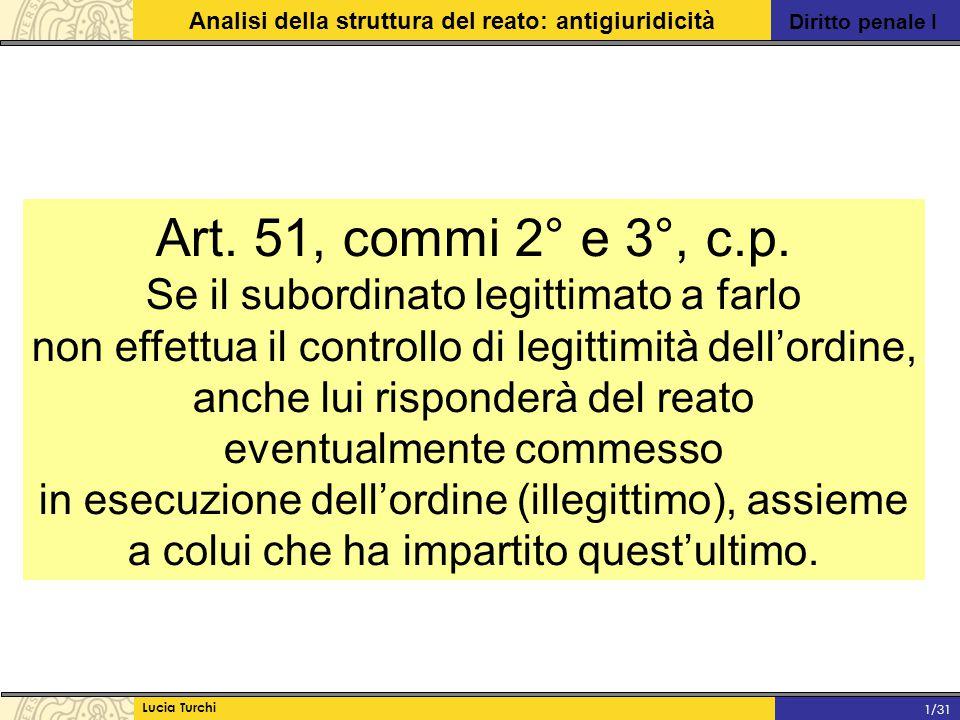 Diritto penale I Analisi della struttura del reato: antigiuridicità Lucia Turchi 1/31 Art. 51, commi 2° e 3°, c.p. Se il subordinato legittimato a far