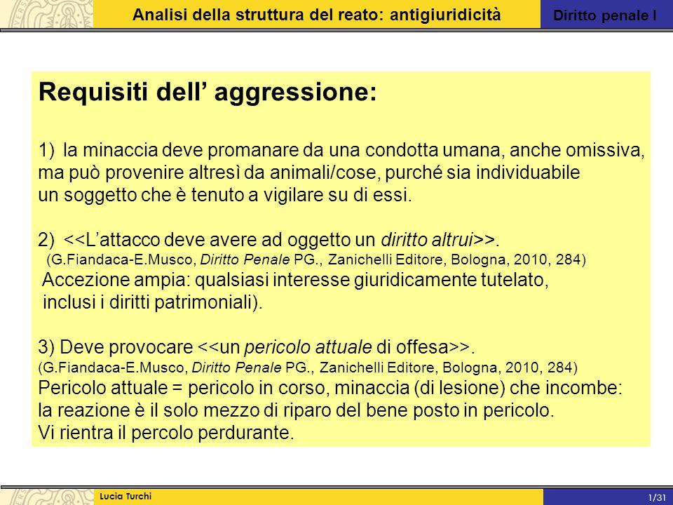Diritto penale I Analisi della struttura del reato: antigiuridicità Lucia Turchi 1/31 Requisiti dell' aggressione: 1)la minaccia deve promanare da una