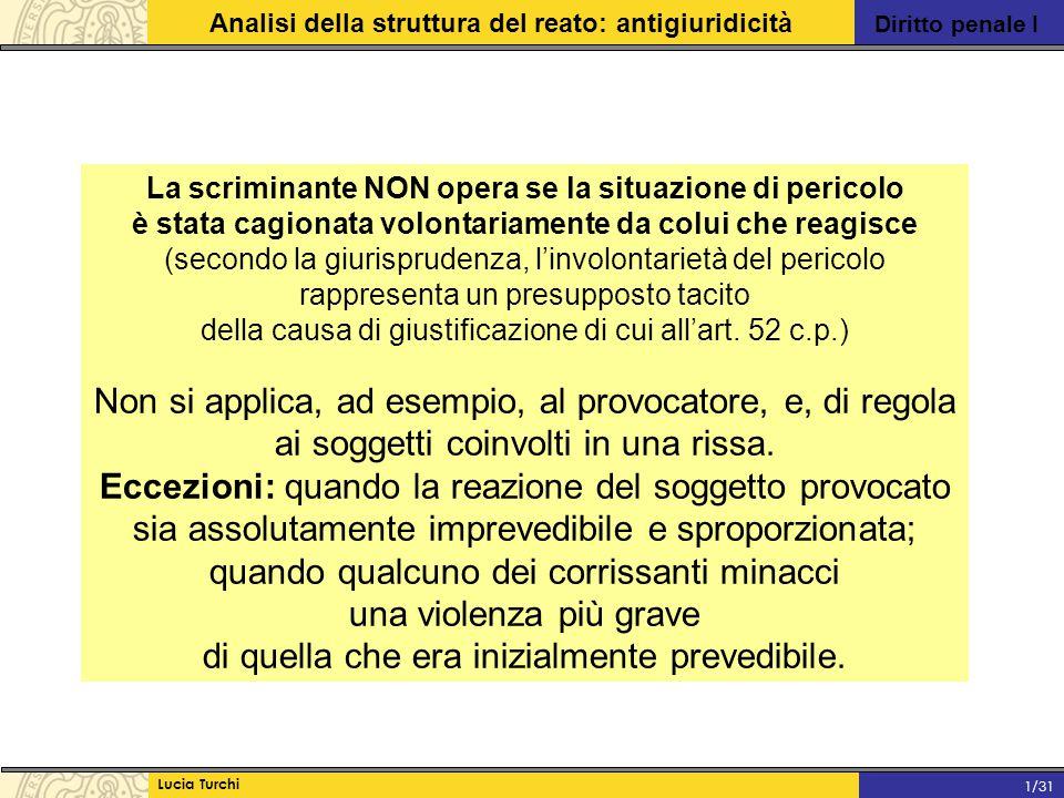 Diritto penale I Analisi della struttura del reato: antigiuridicità Lucia Turchi 1/31 La scriminante NON opera se la situazione di pericolo è stata ca