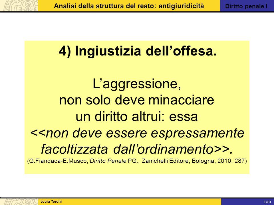 Diritto penale I Analisi della struttura del reato: antigiuridicità Lucia Turchi 1/31 4) Ingiustizia dell'offesa. L'aggressione, non solo deve minacci