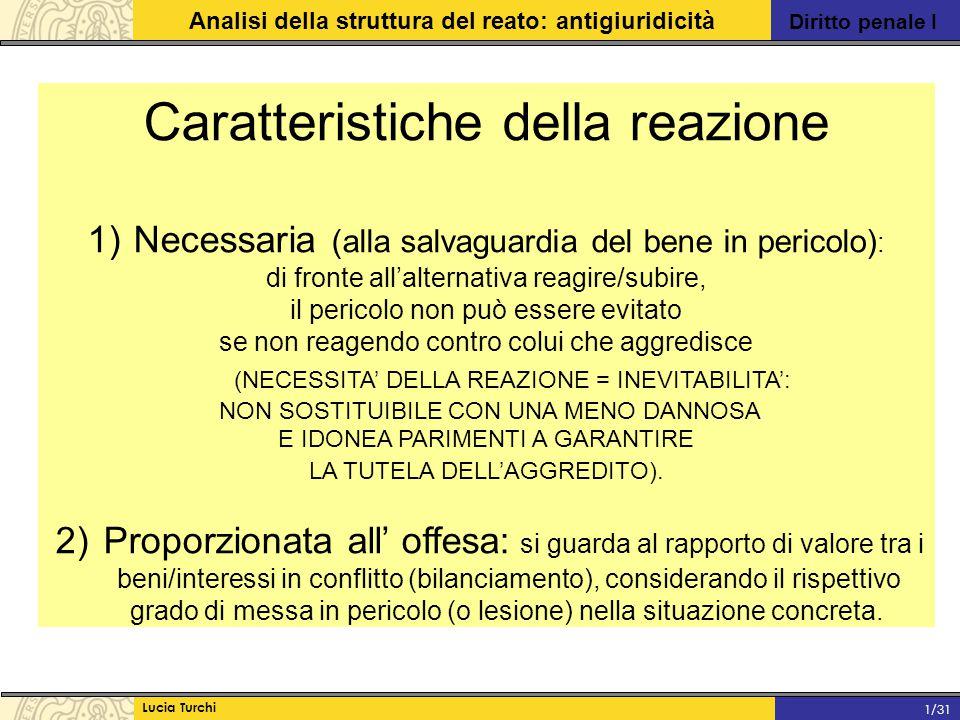 Diritto penale I Analisi della struttura del reato: antigiuridicità Lucia Turchi 1/31 Caratteristiche della reazione 1) Necessaria (alla salvaguardia