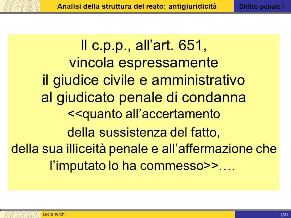 Diritto penale I Analisi della struttura del reato: antigiuridicità Lucia Turchi 1/31 Il c.p.p., all'art. 651, vincola espressamente il giudice civile